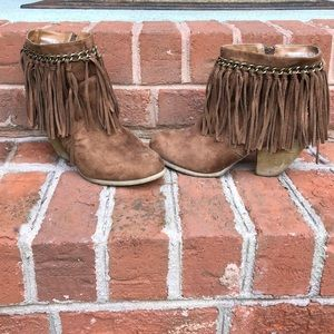 Women's brown fringe suede stud booties 8.5